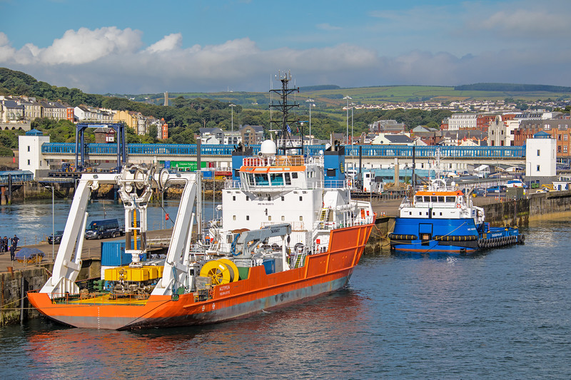 Greek flagged 'Astrea' (1987 GT 2590) alongside in the port of Douglas IOM.  In company with 'Voe Vanguard'  (2017 499GT)