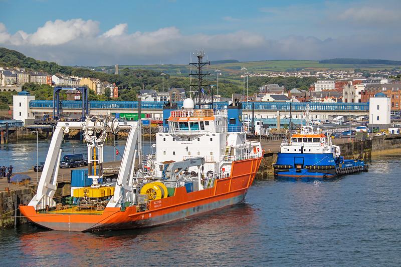 Greek flagged 'Astrea' (1987 GT 2590) alongside in the port of Douglas IOM.  In company with 'Voe Vanguard'  (2017 499GT)