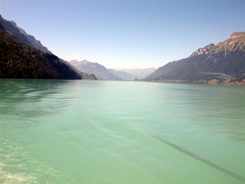 The view along Lake Brienz from paddle steamer Lotschberg steaming near its eastern end