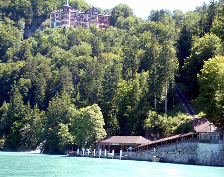 The pier, the hotel and the connecting funicular railway at Giessbach on Lake Brienz