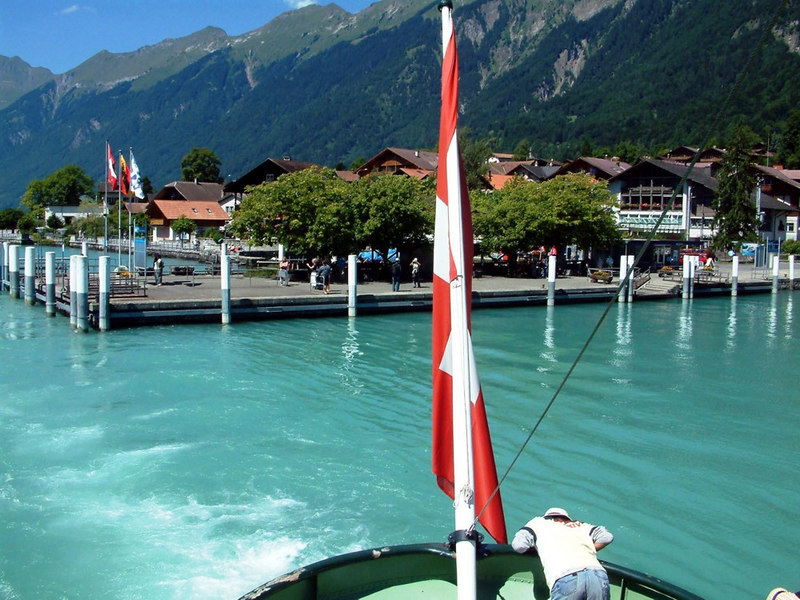 The view aft from paddle steamer Lotschberg as she leaves the pier at Brienz to head back to Interlaken
