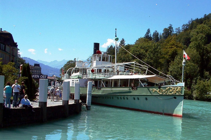 Paddle steamer Lotschberg at her base at Interlaken Ost - viewed from the entrance to the covered repair dock where the BLS Lake Brienz fleet are maintained