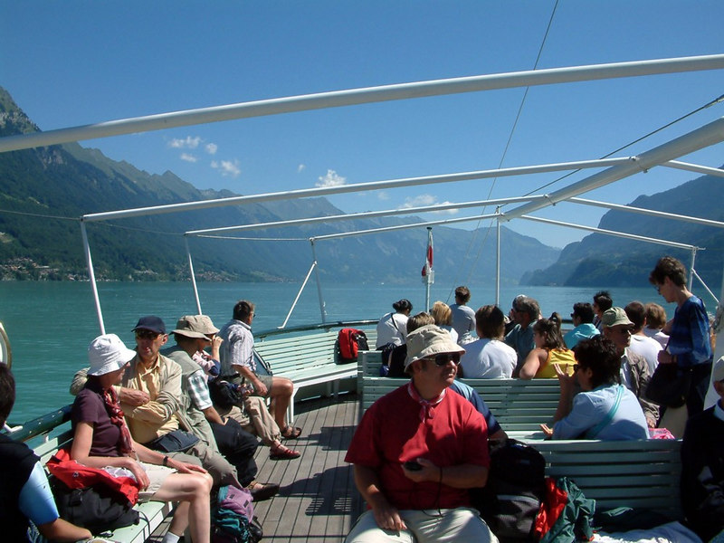 Looking forward from paddle steamer Lotschberg's upper deck as she steams eastwards along Lake Brienz