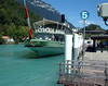 Paddle steamer Lotschberg at her base at Interlaken from astern beside Interlaken Ost railway station