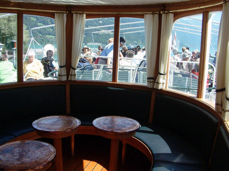 View from the small Stubli on paddle steamer Lotschberg's upper deck