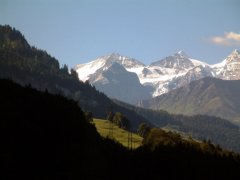 The train climbs into the Alps
