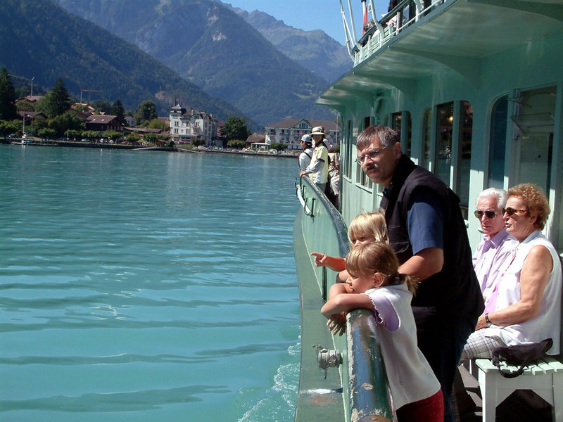Looking aft on paddle steamer Lotschberg on leaving Bonigen at the west end of Lake Brienz