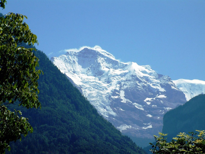 One of the three huge Alpine peaks that dominate the Bernese Oberland - this one is the Monch, its two famous neighbours are the Jungfrau and the Eiger