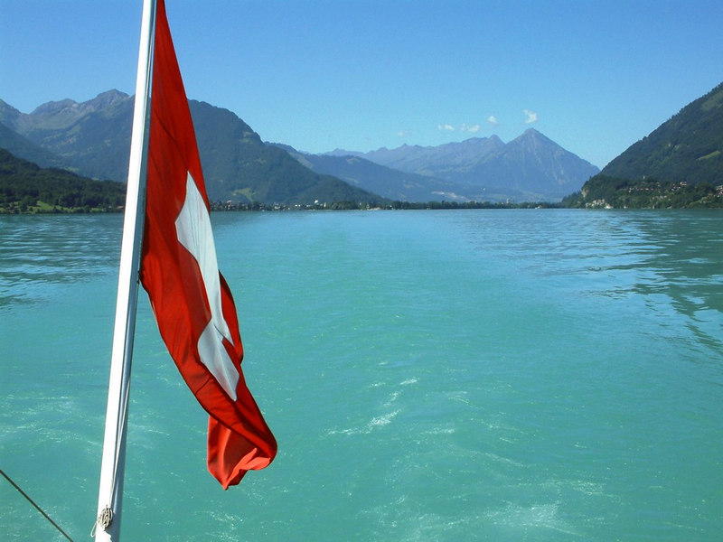 Looking aft (west) along Lake Brienz - the water colour is a product of the small pieces of suspended alpine rock carried off the mountains