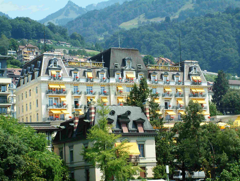 Grand Hotel Suisse at Montreux - my base for sailings on Lake Leman in 1994. This view is from 2003