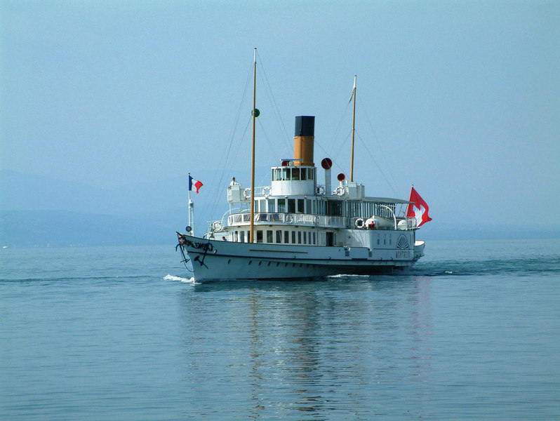 Paddle steamer Montreux arriving at Lausanne-Ouchy