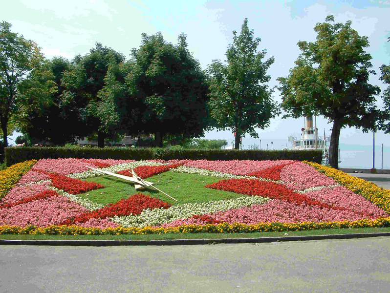 Floral clock by the lakeside at Lausanne-Ouchy