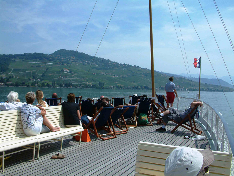 Cruising along the northern shore of Lake Leman on paddle steamer La Suisse