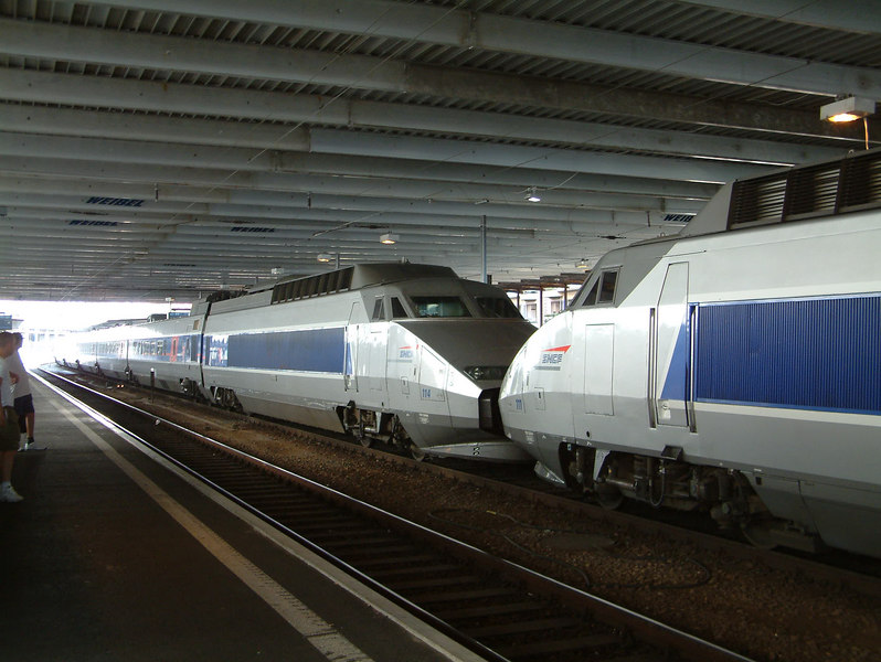 An SNCF Paris-bound TGV (Train de Grand Vitesse) from Milan at Lausanne