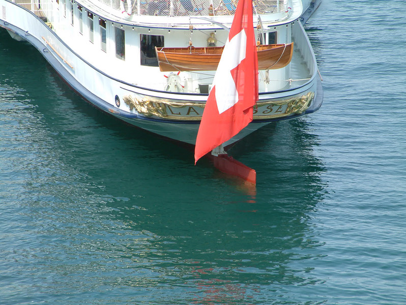 Counter stern of paddle steamer La Suisse