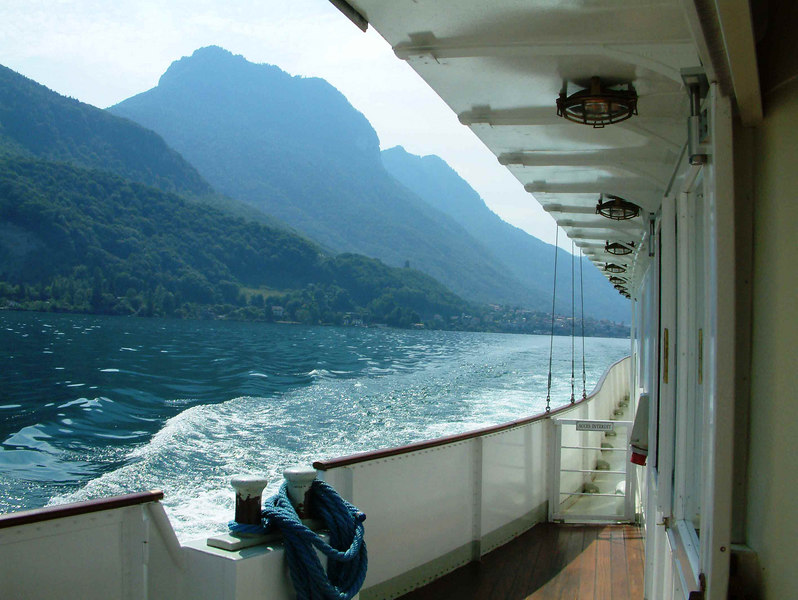 Cruising along the southern shore of Lake Leman on paddle steamer Montreux