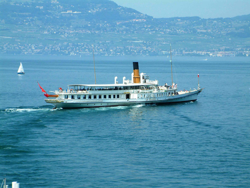 Paddle steamer La Suisse in the 'Haut Lac' off St Gingolph - the Swiss Riviera (Vevey and Montreux) on the far shore