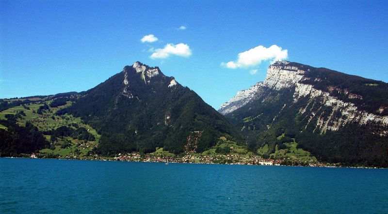 Looking back to the Niederhorn from paddle steamer Blumlisalp on Lake Thun