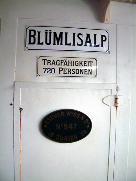 Typical of the internal  plates on Swiss paddle steamers indicating the vessel's name, her maximum passenger capacity and the shipbuilder's plate. These are usually located on or near the paddlebox access doors.