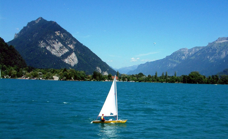 Views on Lake Thun from paddle steamer Blumlisalp
