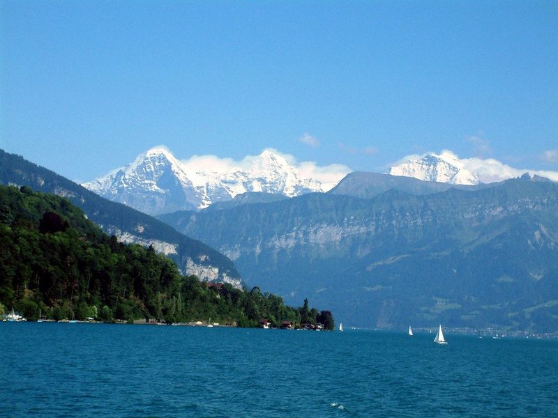 Lake Thun with the Eiger, Monch and Junfrau towering above