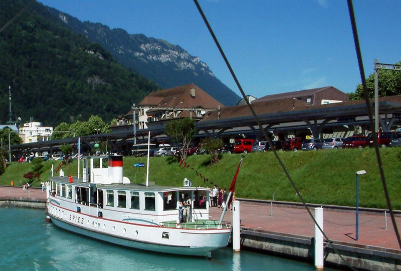 Motor vessel Spiez at Interlaken West from the departing paddle steamer Blumlisalp