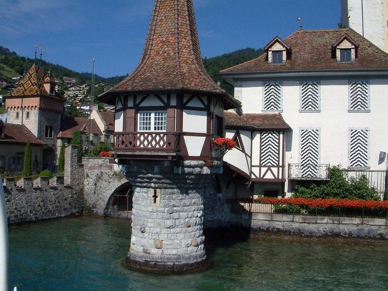 Oberhofen castle from paddle steamer Blumlisalp
