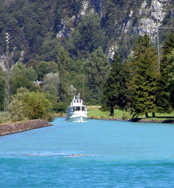 Motor vessel Spiez coming down the canal from Interlaken
