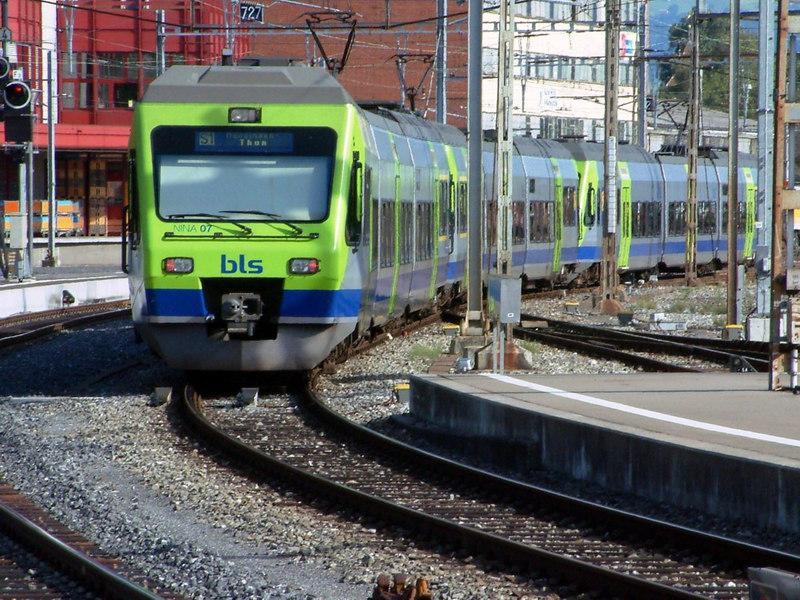 BLS (Bern-Lotschberg-Simplon Railway Company) regional train arriving at Thun