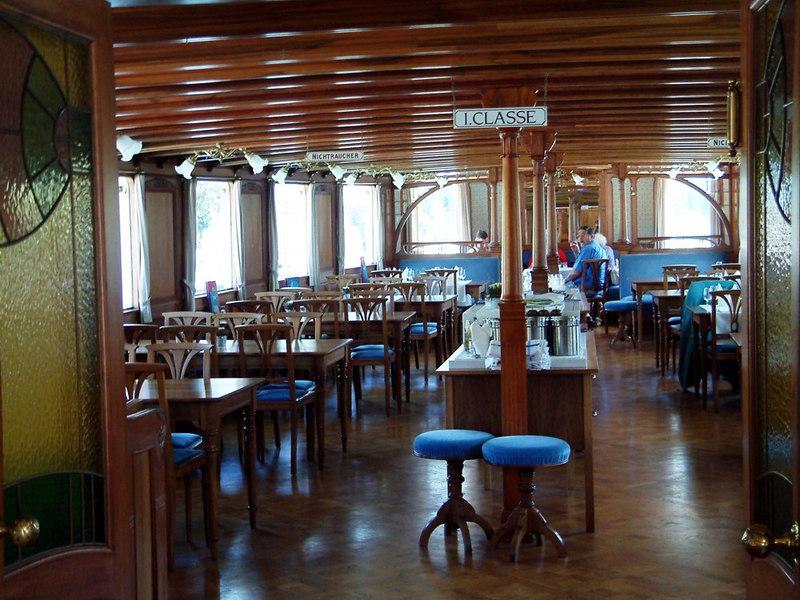 Paddle steamer Blumlisalp's First Class Saloon