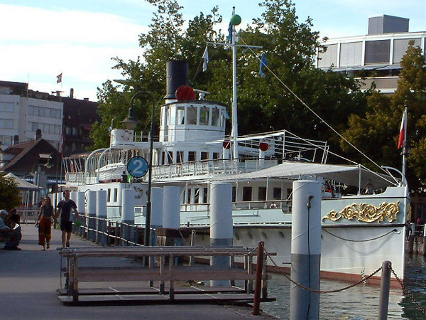 Paddle steamer Blumlisalp berthed at her base in Thun