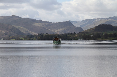 Lady Wakefield disturbs the calm of Ullswater as she heads for Pooley Bridge