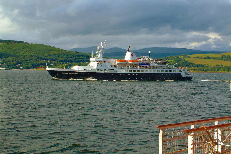Outbound Clipper Adventurer passing ps Waverley off Kempock Point, Gourock