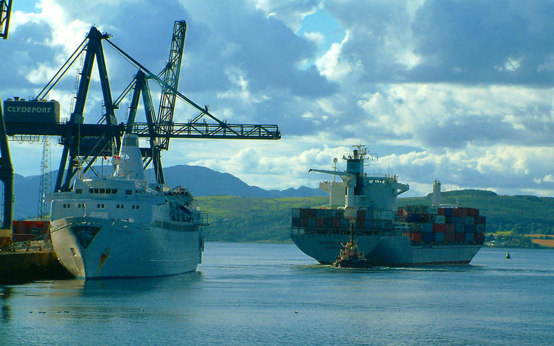 Black Prince at Greenock Ocean Terminal with container ship Maersk Apapa departing.