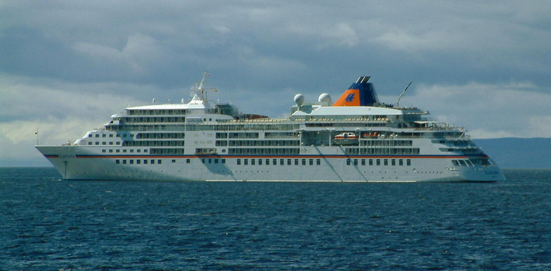 A newer Hapag liner Europa at anchor off Ayr in 2006