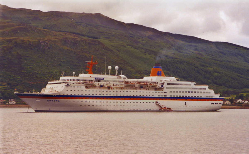 Hapag liner Europa at anchor in Campbeltown Loch mid 1990s