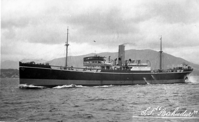"ss BAHADUR<br /> Yard No 823<br /> Engines by D. Rowan & Co.<br /> <br /> The second of three vessels named Bahadur to be built on the Clyde for the Asiatic Steam Navigation Company of London.<br /> <br /> The first SS Bahadur was built at the Scotstoun shipyard of Charles Connell & Company (Yard No 313) in 1907. Twenty-two years later that vessel was replace by the first of two Lithgows-built vessels to carry the name.<br /> <br /> Career: <br /> <br /> <a href=""http://www.clydesite.co.uk/clydebuilt/viewship.asp?id=18149"">http://www.clydesite.co.uk/clydebuilt/viewship.asp?id=18149</a><br /> <br /> This company was formed in 1878 by the Liverpool Merchants, Turner & Co. and their Calcutta associates, Turner, Morrison & Co. to operate cargo and passenger services in the Bay of Bengal. Although owned and registered in the U.K, the company's ships were based in Calcutta and rarely returned to Britain. Between 1878 and 1949 the Company acquired almost 60 ships of which over 80% (44 ships) were built on the Clyde - 18 by Connell and 26 by Russell / Lithgow. A more detailed history of the Asiatic S N Co can be seen at<br /> <br /> <a href=""http://www.merchantnavyofficers.com/asiaticsteam.html"">http://www.merchantnavyofficers.com/asiaticsteam.html</a><br /> <br /> Bahadur (II) was the second of two sister ships delivered by Lithgows to the Asiatic S N Co in 1929, her sister being named Subadur. Both vessels continued to serve in the fleet until lost by enemy action in 1942 - first, Subadur was bombed and sunk in the Banka Strait by Japanese warplanes on 13th February then, just over 7 weeks later, on 7th April, Bahadur was torpedoed by a Japanese submarine.<br /> <br /> This picture shows Bahadur as a new ship proceeding to run speed trials on the Measured Mile off Skelmorlie on the Firth of Clyde. It was taken by the Gourock-based photographers William Robertson & Co, which firm was commissioned to make many photographic studies of new built ships by both the builders and owners. Robertson's work was highly regarded but strangely the message on the reverse side of this card gives the firms response to a complaint made by Lithgows about pictures supplied of another ship that they built in 1929 (see next picture)."