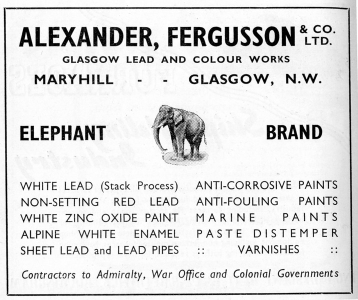 "Alexander, Fergusson & Co was established as a partnership between Henry Alexander and Alexander Andrew Fergusson, in c1854 in Glasgow. The company initially carried on a business smelting lead ore and manufacturing lead sheet and pipe. The partnership was expanded under new contracts of co-partnery to include three employees as well as the founding partners in 1882 . At this time, the company was trading as Alexander, Fergusson & Co, lead and colour manufacturers and metal merchants. Much of the lead business was carried out at their premises in McAlpine Street, Glasgow, while the lead and paint business was carried out at their premises in Ruchill Street, Maryhill, Glasgow. The firm was incorporated in 1897 and thereafter traded as Alexander, Fergusson & Co Ltd. The company appears to have moved its registered office from McAlpine Street, Glasgow, to Ruchill Street, Glasgow, in c1906.Alexander, Fergusson & Co Ltd operated through a number of agencies within the UK and also overseas from c1908. Prior to the 1939-1945 World War, the company acquired the Clyde Lead Works in Kinning Park, Glasgow, which primarily carried out work in lead refining and rolling. Although the company ceased to trade around 1988 it was still registered, as a dormant company, in 2002.<br /> <br /> Source:Scottish Archive Network Online Catalogue <br /> <a href=""http://www.scan.org.uk"">http://www.scan.org.uk</a>"