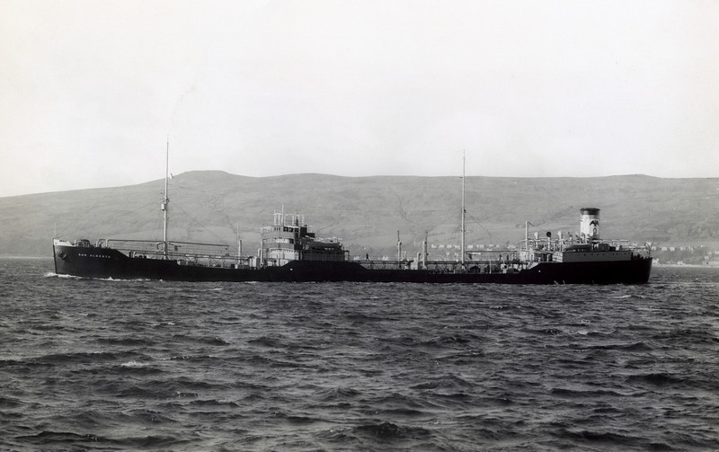 "mt SAN ALBERTO<br /> Yard No 871<br /> Engines by J.G.Kincaid & Co. Ltd, Greenock<br /> Launched: Friday, 23/11/1934 for the Eagle Oil and Shipping Co., London.<br /> <br /> This vessel was the first of four tankers built by Lithgow for the Eagle Oil company in the 1930s, two others following in 1937 and a final vessel in 1939. However, this first ship was not to survive the 1930s, becoming an early casualty of WW2 when torpedoed off Fastnet. This view shows her as a new vessel on the Firth of Clyde off Wemyss Bay. Her single diesel engine was sufficient to give her a service speed of 12 knots.<br /> <br /> Career:<br /> <br /> <a href=""http://www.clydesite.co.uk/clydebuilt/viewship.asp?id=18196"">http://www.clydesite.co.uk/clydebuilt/viewship.asp?id=18196</a>"