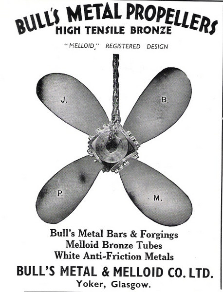 "Bull's Metal & Melloid Company's Yoker works made a range of bronze and other  metal alloy products including brass-framed ship's windows and portlights . In 1961 William Oven's of the Yoker company applied for a patent for an improved design of weather excluding ship window:<br /> <br /> <a href=""http://www.wikipatents.com/gb/872156.html"">http://www.wikipatents.com/gb/872156.html</a><br /> <br /> In the 1970s Bull's became part of the Stone Manganese Marine group, an amalgamation of propeller makers J Stone & Co and the Manganese Bronze & Brass Company of London. The Yoker operation was closed in the 1980s. Stone Manganese Marine design offices are now (2008) based in Birkenhead but propeller manufacture is undertaken in Singapore and  Dalian in the People's Republic of China."