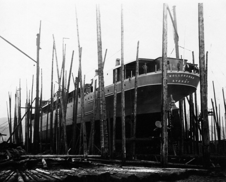 ss WOLLONGBAR<br /> Yard No 746<br /> Triple expansion steam engines<br /> Launched: Monday, 28/08/1922 for North Coast Steam Navigation Company, Sydney NSW<br /> <br /> <br /> Seen here from port side aft on the building berth prior to launch. Painting of the ship's hull would be ongoing at this stage. The shipbuilding industry brought a requirement for special types of paint for the arduous marine environment including anti-fouling paints. One of the main firms on Clydeside that served that requirement with their 'Elephant Brand' paints was Alexander, Fergusson & Company, based in the Maryhill district of Glasgow (next picture)