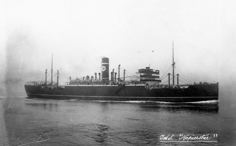 "ss NAPIERSTAR<br /> Yard No 786<br /> 4 steam turbine engines, built by the Parsons Marine Steam Turbine Co. Ltd, Wallsend-on-Tyne, single reduction geared to twin shafts.<br /> Launched: Thursday, 05/08/1926 as RALEIGHSTAR for Blue Star Line Ltd London<br /> Career:<br /> <a href=""http://www.clydesite.co.uk/clydebuilt/viewship.asp?id=18111"">http://www.clydesite.co.uk/clydebuilt/viewship.asp?id=18111</a>"