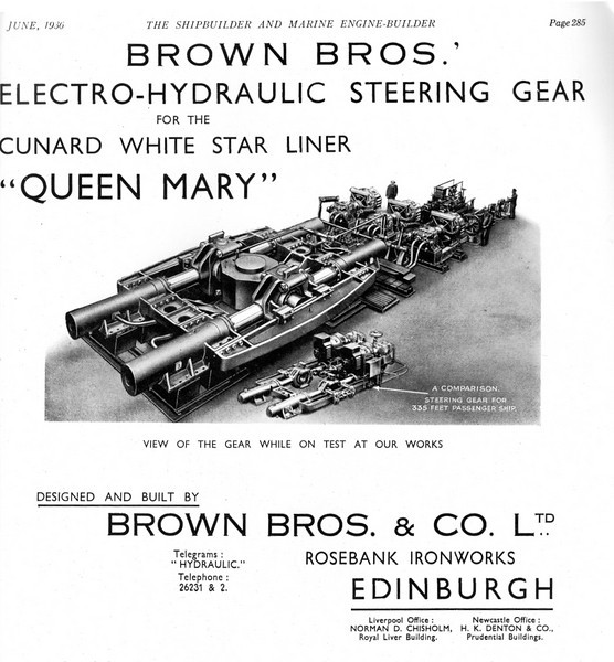 An 1930s advert for Brown Brothers' electro-hydraulic steering gear supplied for the Cunard White Star Liner Queen Mary compared in size with simolar gear for a 335 feet passenger vessel.