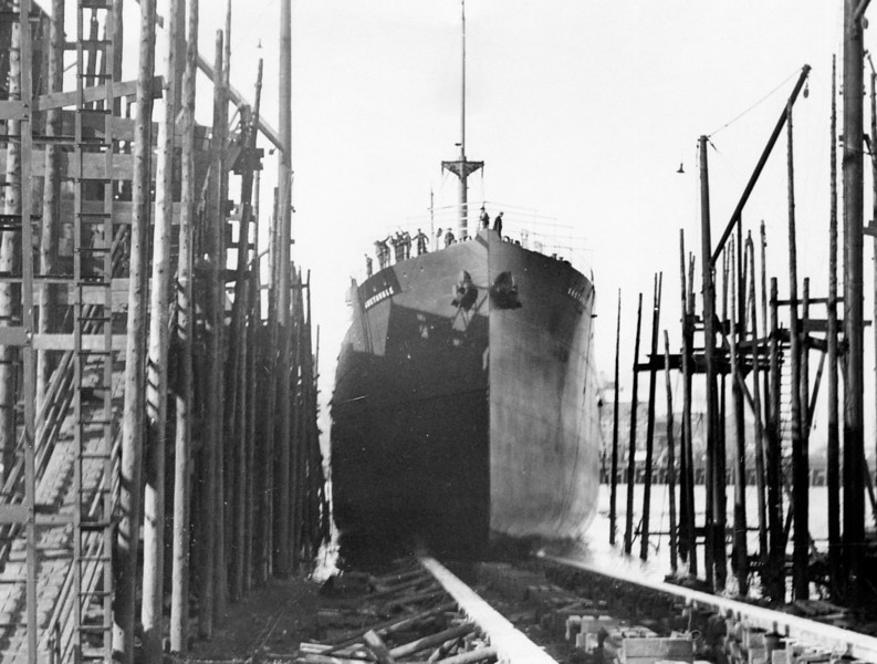 "ss GRETAVALE<br /> Yard No 797<br /> Launched: Wednesday, 22/02/1928 for Andrew Crawford & Co of Glasgow (Vale Line)<br /> A standard tramp ship seen at her launch into the Clyde.<br /> Career:<br /> <br /> <a href=""http://www.clydesite.co.uk/clydebuilt/viewship.asp?id=18122"">http://www.clydesite.co.uk/clydebuilt/viewship.asp?id=18122</a><br /> <br /> Andrew Crawford was born at the farm of Rallies near Largs on the Firth of Clyde in 1871. After education at Glasgow High School he joined the outward freight department of Messrs Cayzer, Irvine & Co (The Clan Line) and became Head of the Department by the age of 24. By 1903 he had formed his own firm of Shipping Agents and Foreign Coaling Agents and in that year the firm of Andrew Crawford & Co entered into an agreement with Port Glasgow shipbuilder Anderson Rodger (an original partner in Russell.Lithgow) to buy a steamer of 5000 tons already under construction. The first ship was named Gogovale (after the Gogo Burn that flows through Crawford's native town of Largs). All subsequent Crawford ships were given names beginning with 'G' and ending in 'vale'. The Company's funnel livery was similar in style to that of the Clan Line except that twin blue bands replaced the twin red bands of the latter concern."