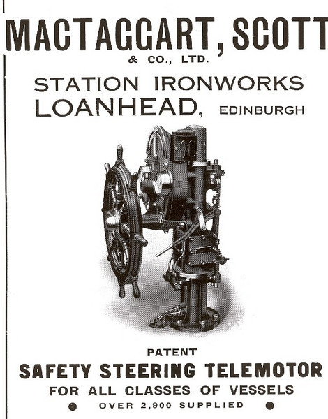 """A second well known manufacturer of steering gear based near Edinburgh is MacTaggart, Scott & Co Ltd which is also still in existance. Loanhead Station Ironworks was started in 1898 by Hugh Holmes MacTaggart and Robert Grigor Scott. Amongst early products they made special colliery winding machinery before the became more related marine and defence orientated.<br /> <br /> World War One (WWI) saw the Company making steering telemotors. Hugh MacTaggart's attendance at the Admiralty to address vent valve operation, led to long term involvement with submarines. The Admiralty link soon saw development of seaplane catapults and arresting gear confirming the company's commitment to the British Navy, especially during WWII to meet the demand for the Fleet's carrier building programme. Submarine equipment production now included vent valves, bow caps, mast hoisting jiggers and torpedo loading presses. The end of WWII allowed the company to develop pumps and motors. The successful development and running of the RHP pump led to today's """"stealth"""" enhancing motors and pumps in submarines.<br /> <br /> During the 50's reliable and economic operation of MacTaggart Scott's hydraulic deck machinery so impressed the Admiralty that they reversed their preference for traditionally electric systems. The company provided anchor windlasses, winches and R.A.S.T. equipment. The Navy's requirement to handle helicopters and MacTaggart Scott's reputation with arrester gear led to the production of an elegant and practical solution which allowed cross handling of helicopters. These same qualities were provided for aircraft carrier between deck lifts and with more recently the provision of weapons, ammunition and stores lifts, demands from Navies around the World wishing to handle helicopters, aircraft, stores and ammunition are safely and efficiently met. Nuclear submarines led to design and manufacture of retracting bow planes, shrouded masts and the launching and recovery of communication eq"""