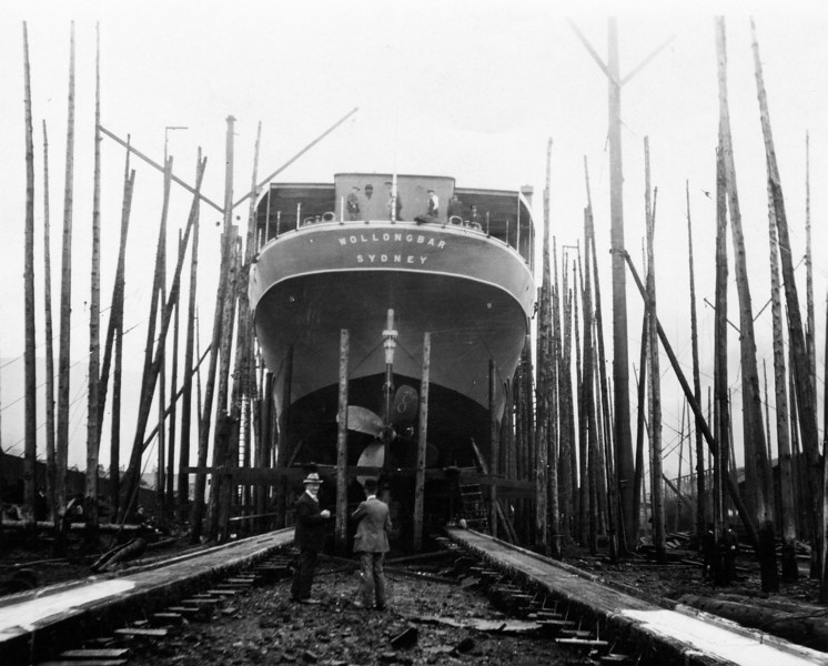 """ss WOLLONGBAR<br /> Yard No 746<br /> Triple expansion steam engines<br /> Launched: Monday, 28/08/1922 for North Coast Steam Navigation Company, Sydney NSW<br /> Career: <br /> <a href=""""http://www.clydesite.co.uk/clydebuilt/viewship.asp?id=18070"""">http://www.clydesite.co.uk/clydebuilt/viewship.asp?id=18070</a><br /> and<br /> <a href=""""http://www.australiansatwar.com.au/stories/stories.asp?war=W2&id=190"""">http://www.australiansatwar.com.au/stories/stories.asp?war=W2&id=190</a> <br /> Seen here from aft on the building berth prior to launch"""