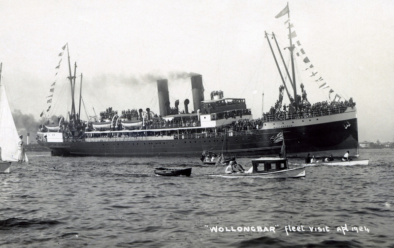 """ss WOLLONGBAR<br /> Yard No 746<br /> Triple expansion steam engines<br /> Launched: Monday, 28/08/1922 for North Coast Steam Navigation Company, Sydney NSW<br /> Career: <br /> <a href=""""http://www.clydesite.co.uk/clydebuilt/viewship.asp?id=18070"""">http://www.clydesite.co.uk/clydebuilt/viewship.asp?id=18070</a><br /> and<br /> <br /> <a href=""""http://www.australiansatwar.com.au/stories/stories.asp?war=W2&id=190"""">http://www.australiansatwar.com.au/stories/stories.asp?war=W2&id=190</a> <br /> Seen here during the visit of a British naval fleet to Sydney in April 1924"""
