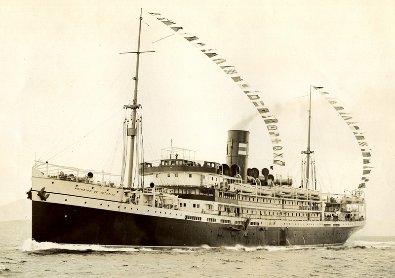 "ss PRINCIPE DE ASTURIAS<br /> Yard No 663<br /> Launched: Thursday, 30/04/1914 for Pinillos, Izquierdo y Cia, Cadiz<br /> Career: <a href=""http://www.clydesite.co.uk/clydebuilt/viewship.asp?id=17984"">http://www.clydesite.co.uk/clydebuilt/viewship.asp?id=17984</a><br /> Seen here running on the Clyde prior to delivery voyage"