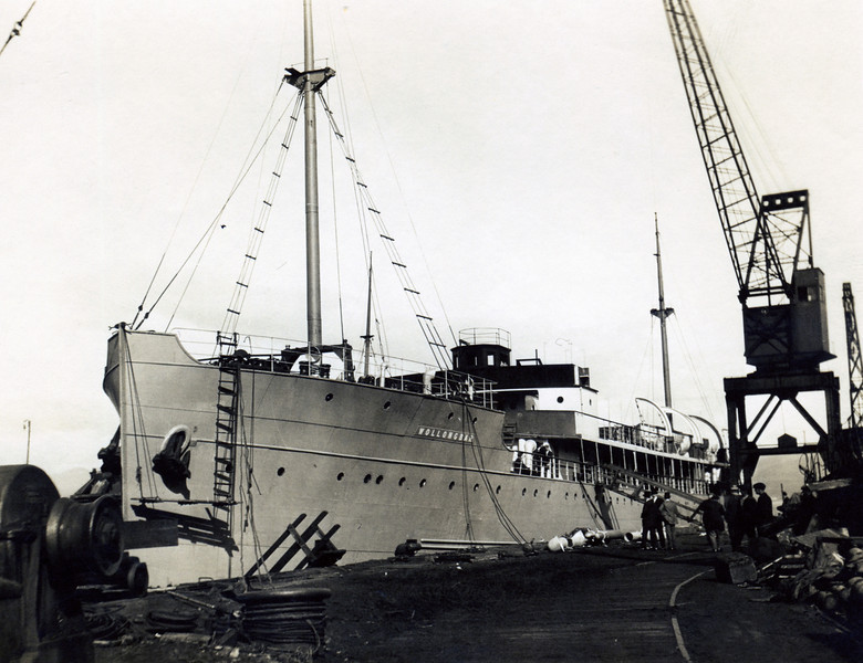 """ss WOLLONGBAR<br /> Yard No 746<br /> Triple expansion steam engines<br /> Launched: Monday, 28/08/1922 for North Coast Steam Navigation Company, Sydney NSW<br /> Career: <br /> <a href=""""http://www.clydesite.co.uk/clydebuilt/viewship.asp?id=18070"""">http://www.clydesite.co.uk/clydebuilt/viewship.asp?id=18070</a><br /> and<br /> <a href=""""http://www.australiansatwar.com.au/stories/stories.asp?war=W2&id=190"""">http://www.australiansatwar.com.au/stories/stories.asp?war=W2&id=190</a> <br /> Seen here fitting out at Port Glasgow after launch"""