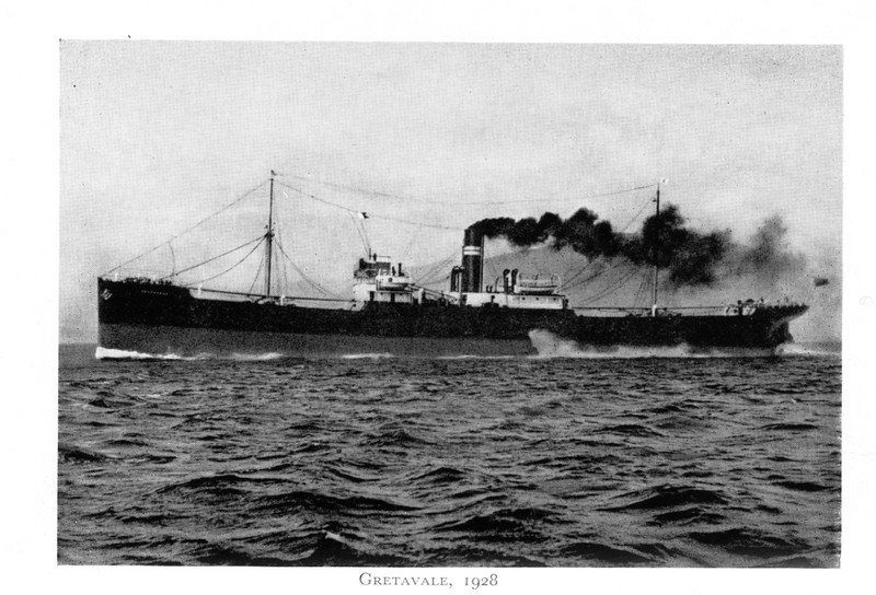 """ss GRETAVALE<br /> Yard No 797<br /> Launched: Wednesday, 22/02/1928 for Andrew Crawford & Co of Glasgow (Vale Line)<br /> <br /> The Vale Line became a substantial tramp ship fleet, carrying bunker coals between the UK, Australia and the Far East - and ports in between. The Company acquired 13 ships between 1904 and 1942. The Gretavale of 1928 was the second of three sister ships built by Lithgow for the company in 1927-29, the first being named Gogovale (the third) and the last vessel becoming the second Gryfevale. <br /> <br /> Gretavale was torpedoed while on convoy duties in WW2. Her predecessor in the Crawford fleet, the first Gretavale, was also lost in WW2. By that time she was Japanese owned, named TOKAI MARU, and she was sunk by the US Air Force.<br /> <br /> Career:<br /> <br /> <a href=""""http://www.clydesite.co.uk/clydebuilt/viewship.asp?id=18122"""">http://www.clydesite.co.uk/clydebuilt/viewship.asp?id=18122</a>"""